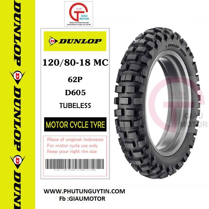 Lốp Dunlop 120.80-18  D605 TL 62P Vỏ xe máy Dunlop size 120-80-18  D605 TL 62P_ Dunlop Việt Nam, giá rẻ, uy tín 2
