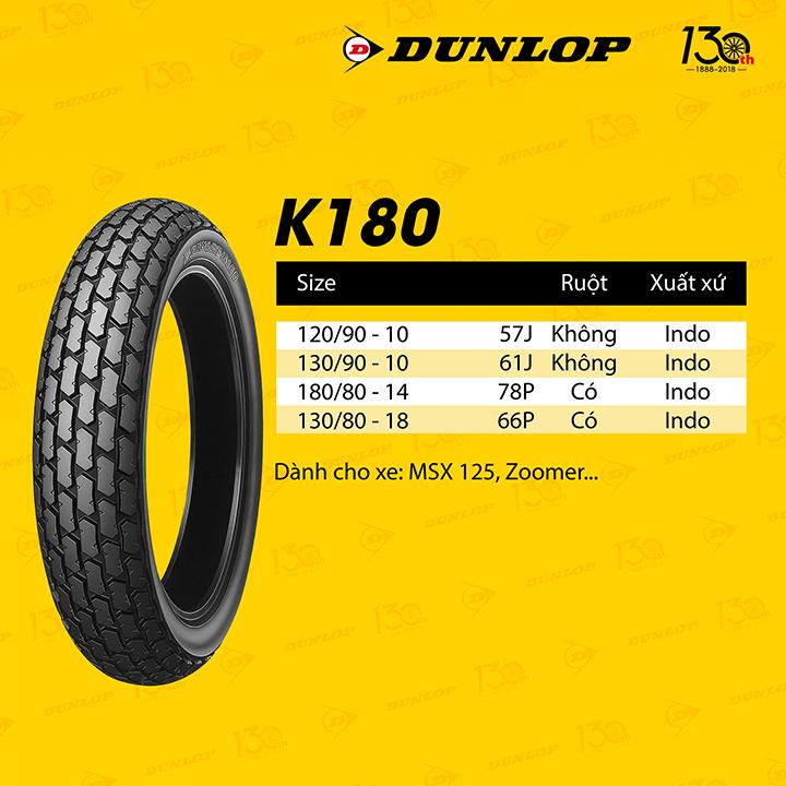 Lốp Dunlop 130.80-18 K180 TT 66P Vỏ xe máy Dunlop size 130-80-18 K180 TT 66P _ Dunlop Việt Nam, giá rẻ, uy tín 4