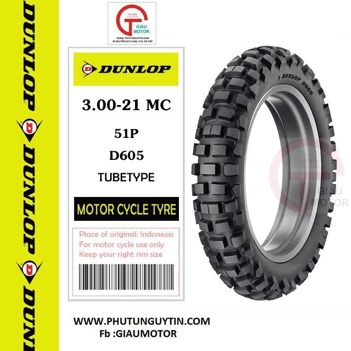 Lốp Dunlop 3.00-21 D605 TT 51P Vỏ xe máy Dunlop size 3.00-21 D605 TT 51P_ Dunlop Việt Nam, giá rẻ, uy tín 4