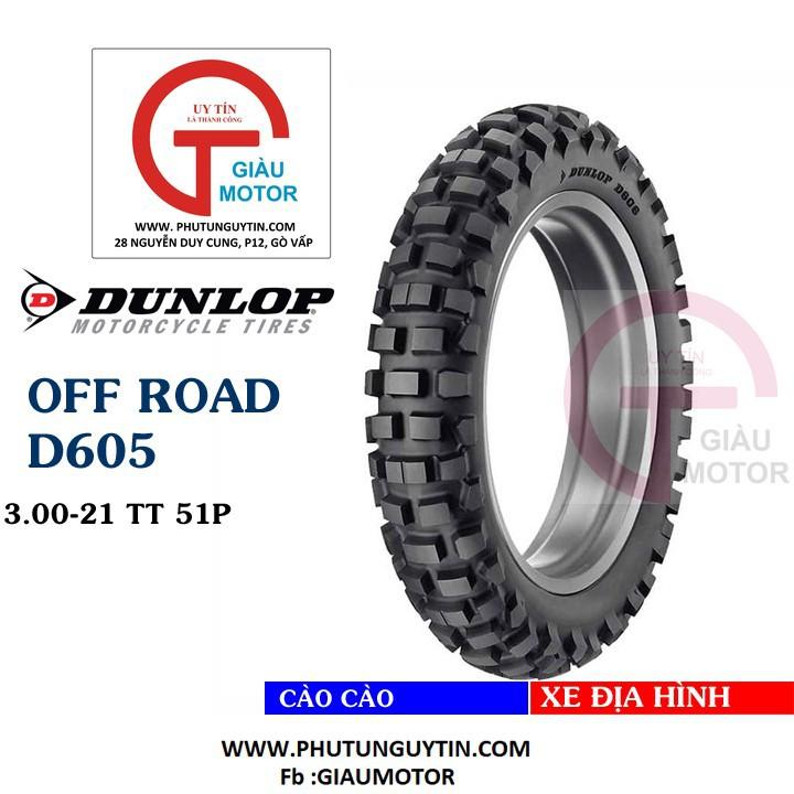 Lốp Dunlop 3.00-21 D605 TT 51P Vỏ xe máy Dunlop size 3.00-21 D605 TT 51P_ Dunlop Việt Nam, giá rẻ, uy tín 1