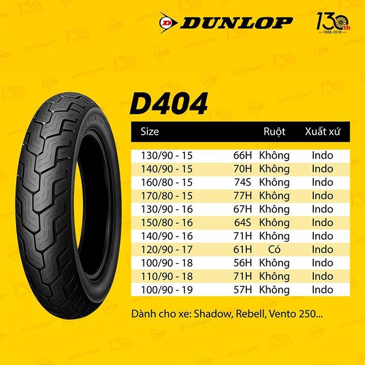Lốp xe Dunlop 130.90-15 D404 TL 66HVỏ xe máy Dunlop size 130-90-15 D404 TL 66H Trùm Dunlop Việt Nam, giá rẻ, uy tín 2