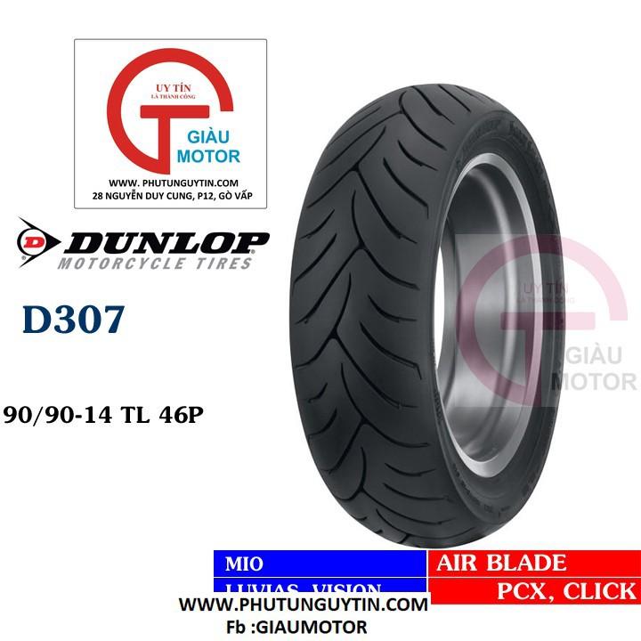 Lốp xe máy Dunlop 90.90-14 D307 - Vỏ xe máy Dunlop size 90-90-14 D307 TL 46P Trùm Dunlop Việt Nam, giá rẻ, uy tín 1