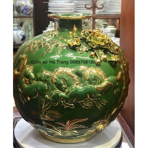 Bình hút tài lộc men lục bảo vẽ vàng  Hoạ tiết đắp nổi gốm sứ Bát Tràng