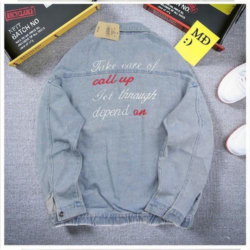 Áo khoác jeans nam xanh in chữ SG262 Saosaigon | áo khoác jeans | áo khoác nam
