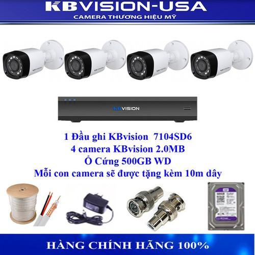 Trọn bộ  4 camera Kbvision 2.0M  thương hiệu mỹ: ổ cứng, dây và nguồn, Lắp đặt rất dễ dàng