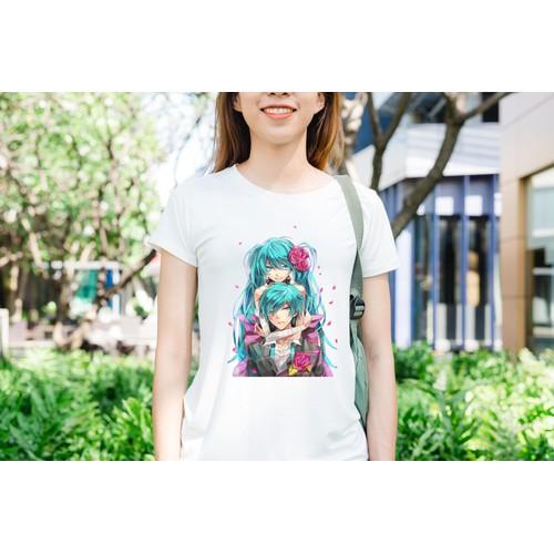 Áo thun in hình Hatsune Miku cùng người thương