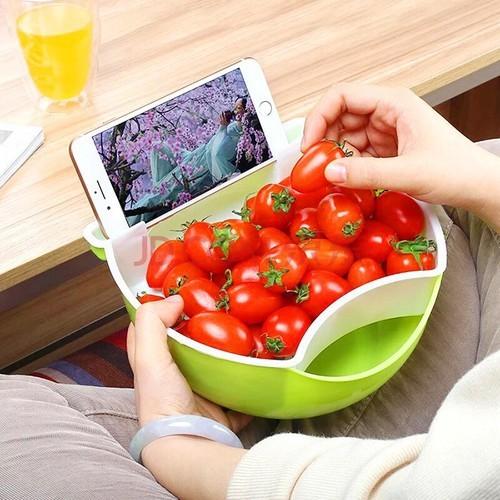 Khay đựng đồ ăn có giá để điện thoại tiện ích