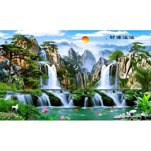 Tranh in canvas thư pháp VTC Non Nước Hữu Tình UD0127B1không khung KT 100 x 60 cm