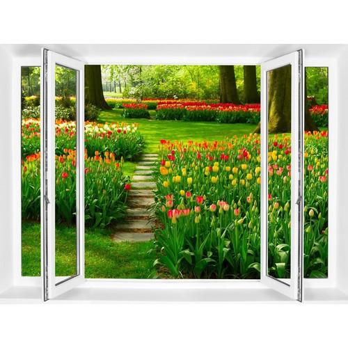Tranh dán tường 3D cửa sổ MAQS_VT0256