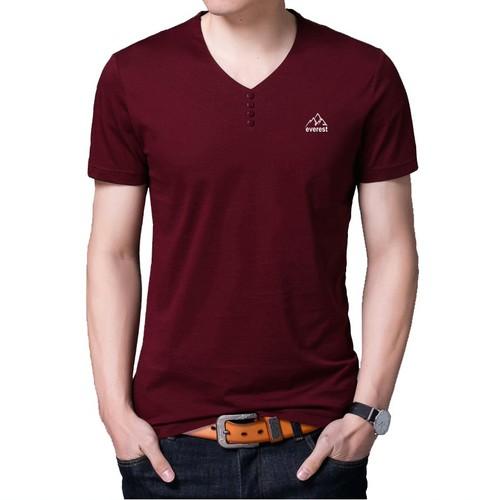Áo thun cổ tim tay ngắn vải cotton cực mát ATN04 màu đỏ