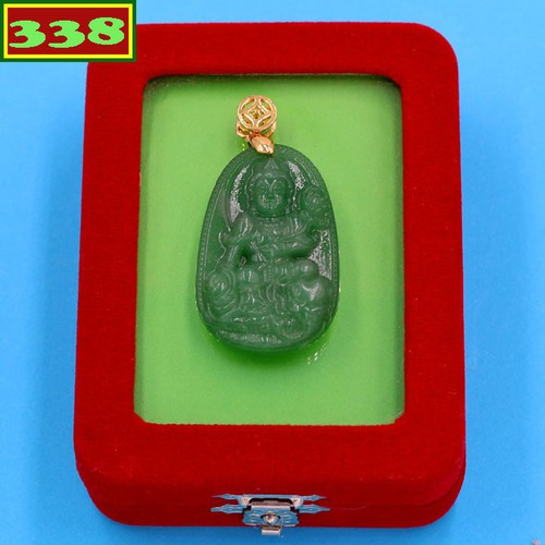 Mặt dây chuyền Phật Phổ hiền thạch anh xanh 3.6 cm MTXA2 kèm hộp nhung - Hộ mệnh tuổi Thìn, Tỵ