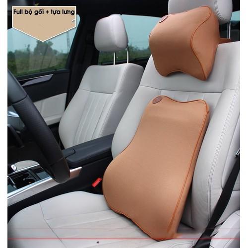 Bộ gối và tựa lưng ô tô cao su non cao cấp