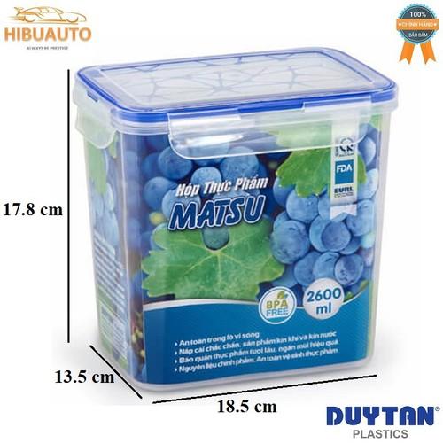 Hộp Nhựa Chữ Nhật Đựng Thực Phẩm Duy Tân Matsu 2600ml 18.5 x 13.5 x 17.8 cm No.438