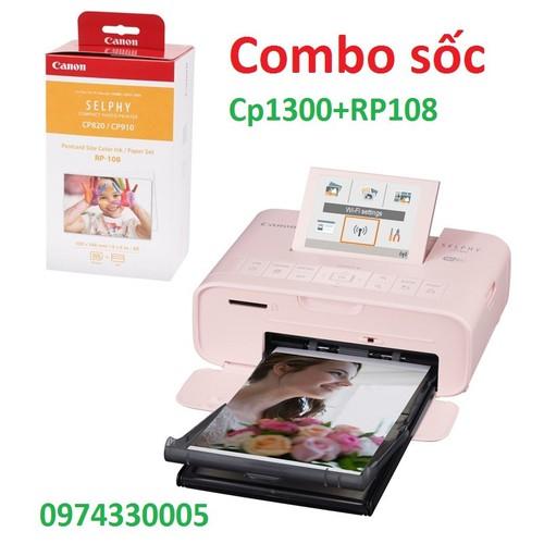Combo sale Cp1300 màu trắng hoặc hồng + giấy in nhiệt RP108