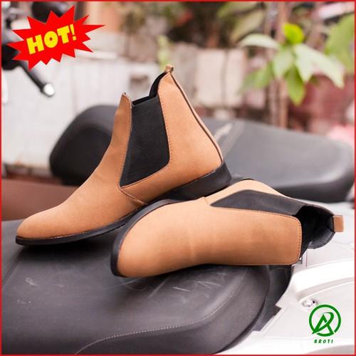 Giày Boot Nam - Giày Chelsea Boot Nam Cao Cổ Da Buck Màu Nâu Cổ Chun Cực Đẹp - CB548-NAU