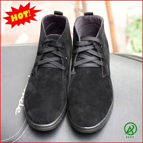 Giày Nam- Giày Boot Nam Cổ Lửng Màu Đen Da Búc Đế Khâu Chắc Chắn - M443-DENBUCK