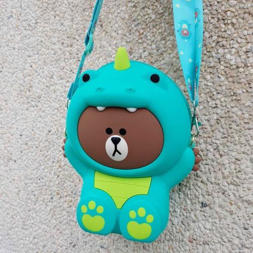 Túi đeo chéo gấu brown khủng long xanh