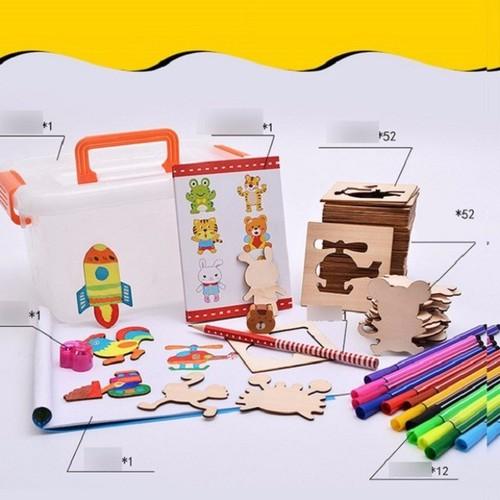 Bộ khuôn gỗ cho bé vẽ tặng kèm bút màu cho bé