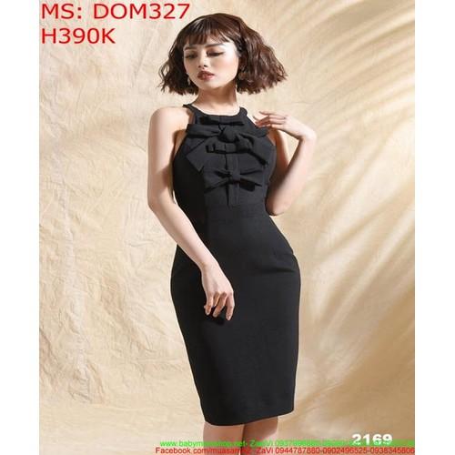 Đầm ôm đen cổ yếm cách điệu đính nơ xinh đẹp DOM327