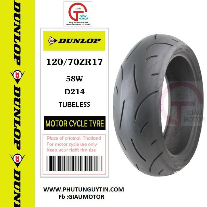 Lốp Dunlop 120.70-17 D214FW 58W Vỏ xe máy Dunlop size 120-70-17 D214FW 58W_ Dunlop Việt Nam, giá rẻ, uy tín 1
