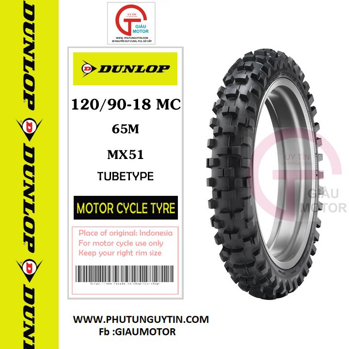 Lốp Dunlop 120.90-18 MX51 TT 65M  Vỏ xe máy Dunlop size 120.90-18 MX51 TT 65M_ Dunlop Việt Nam, giá rẻ, uy tín 2