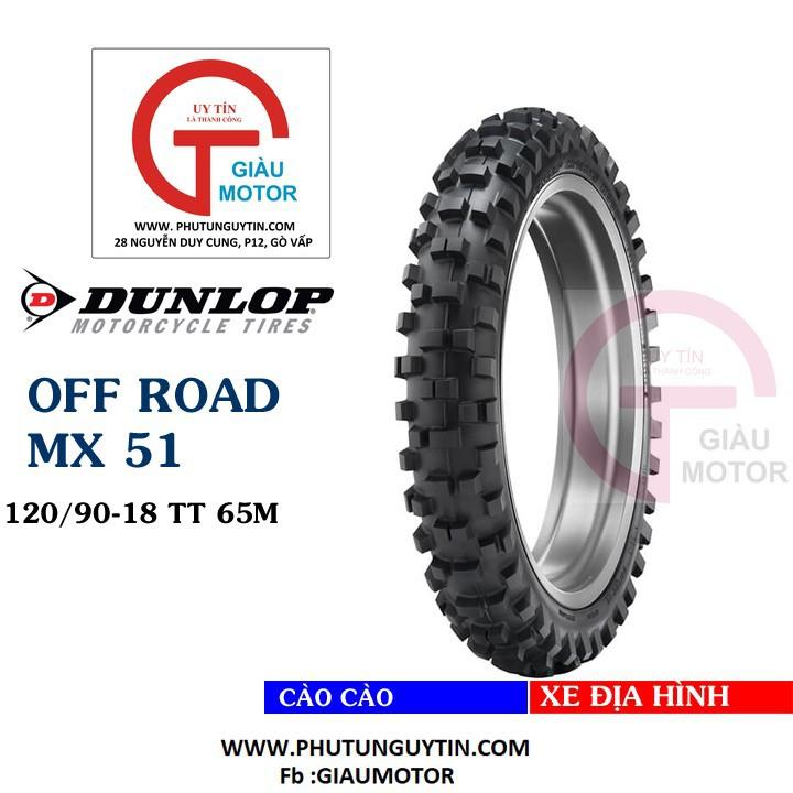 Lốp Dunlop 120.90-18 MX51 TT 65M  Vỏ xe máy Dunlop size 120.90-18 MX51 TT 65M_ Dunlop Việt Nam, giá rẻ, uy tín 1