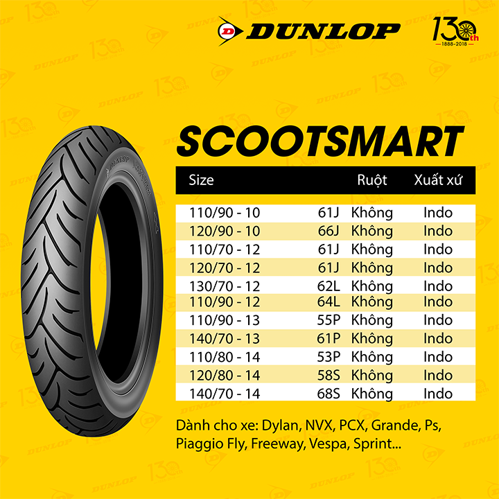 Lốp Dunlop 130.70-13 SC SMART TL 63P Vỏ xe máy Dunlop size 130.70-13 SC SMART TL 63P _ Dunlop Việt Nam, giá rẻ, uy tín 2