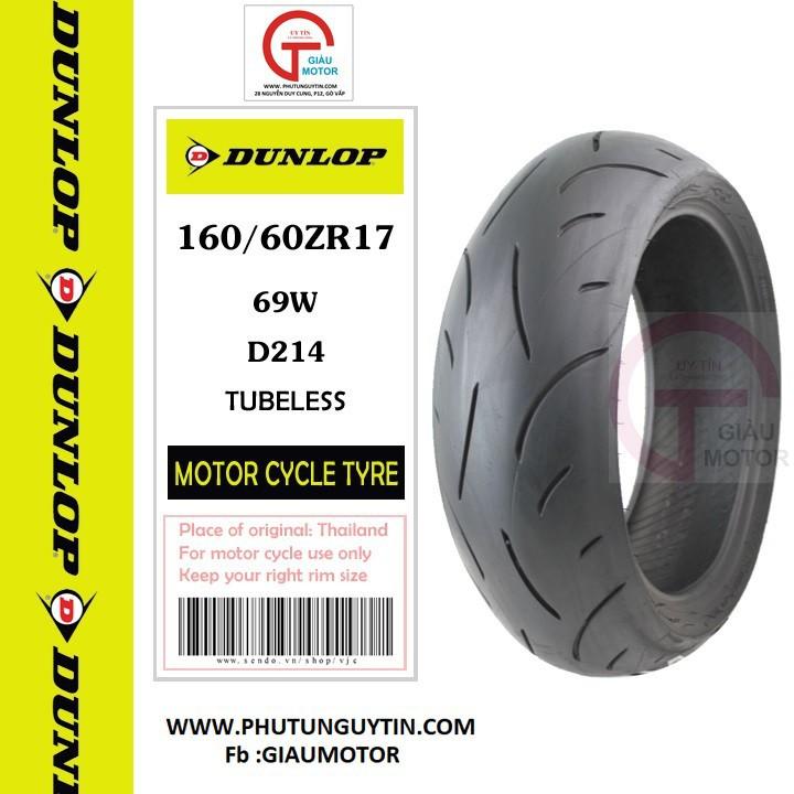 Lốp Dunlop 160.60-ZR-17 D214 69W  Vỏ xe máy Dunlop size 160-60-ZR-17 D214 69W_ Dunlop Việt Nam, giá rẻ, uy tín 1