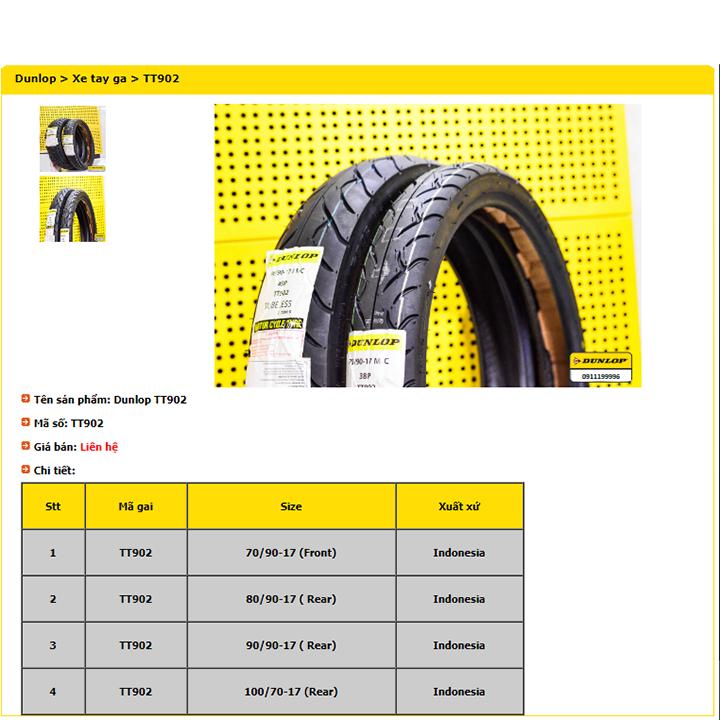 Lốp Dunlop 90.80-17 TT902 TL 46P  Vỏ xe máy Dunlop size 90.80-17 TT902 TL 46P _ Dunlop Việt Nam, giá rẻ, uy tín 2