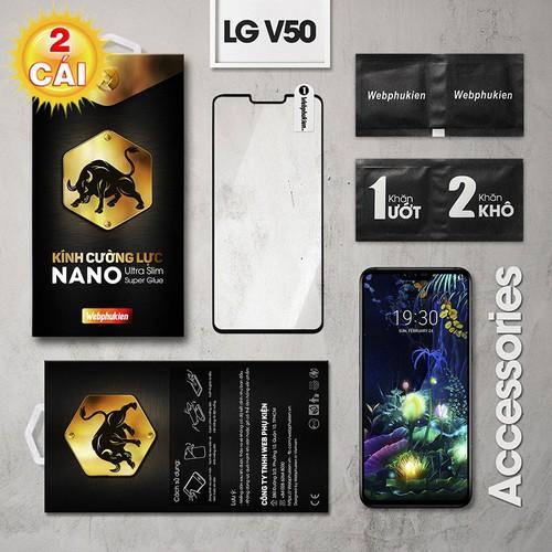 Combo 2 cường lực LG V50 Full Webphukien đen