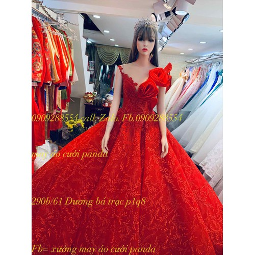 áo cưới ren đỏ hoa hồng giá mềm