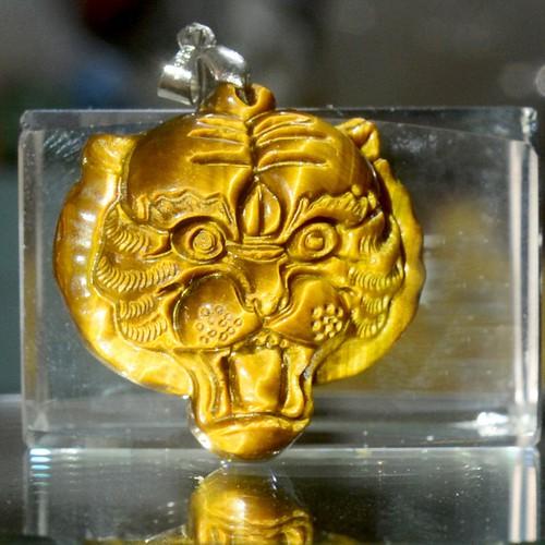 Mặt dây chuyền đá mắt hổ hình đầu Hổ-Tặng dây chuyên inox