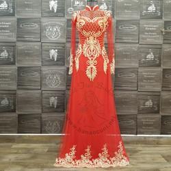 Áo dài cưới đỏ truyền thống điểm ren vàng nổi bật