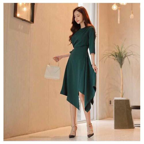 Hàng thiết kế cao cấp - Đầm xoè xanh cách điệu