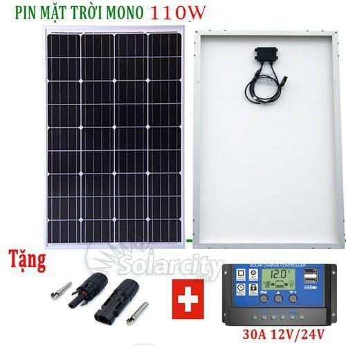 Tấm pin mặt trời mono 110w tặng điều khiển sạc 30a lcd + jac mc4