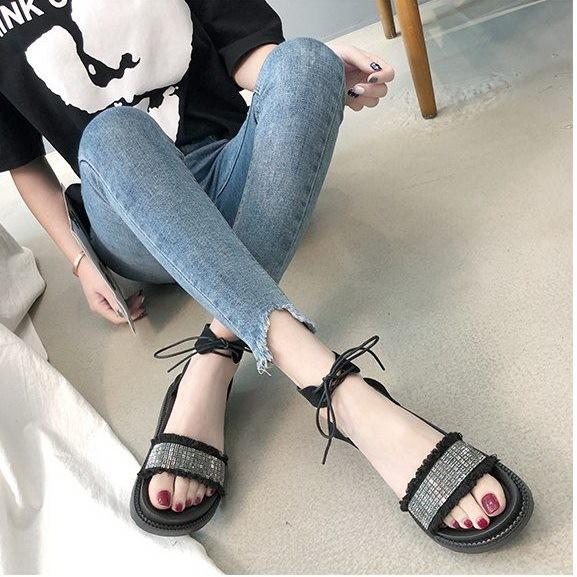 Giày sandal bánh mì cột dây đính hạt |Giày sandal bánh mì nữ 7