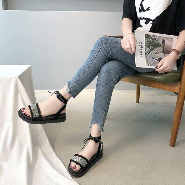 Giày sandal bánh mì cột dây đính hạt |Giày sandal bánh mì nữ 2
