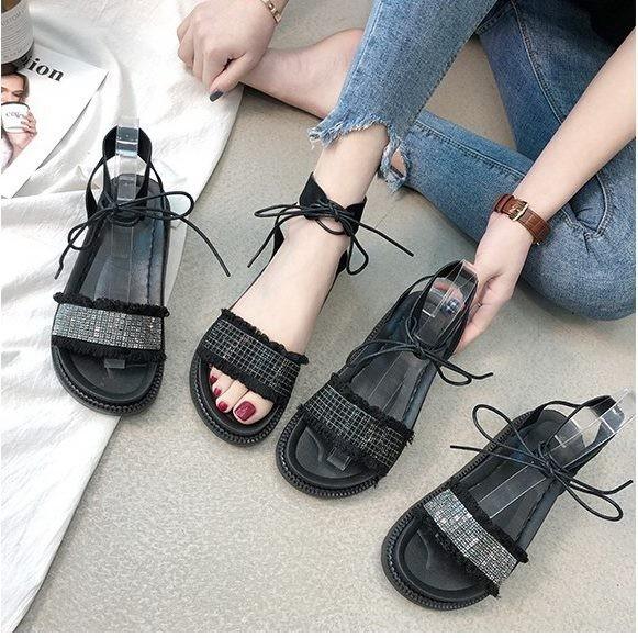 Giày sandal bánh mì cột dây đính hạt |Giày sandal bánh mì nữ 5