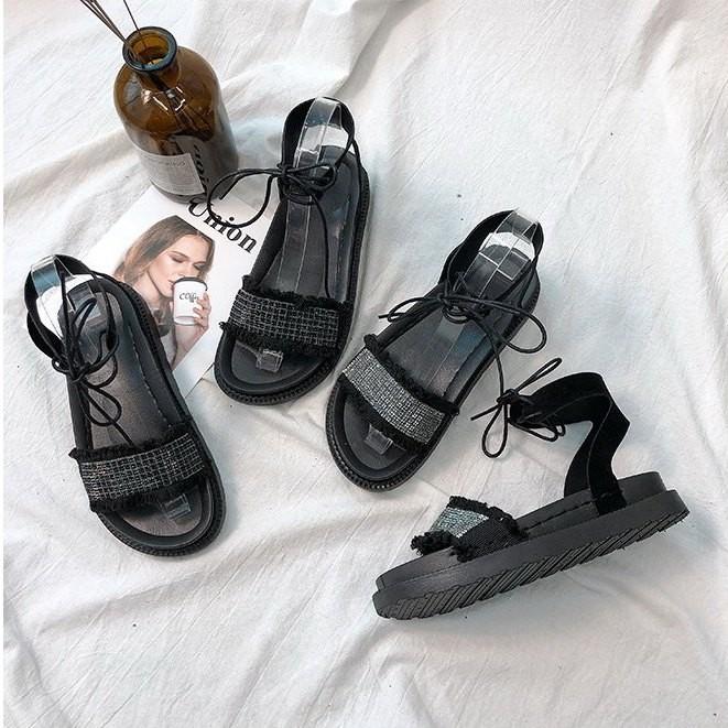 Giày sandal bánh mì cột dây đính hạt |Giày sandal bánh mì nữ 3