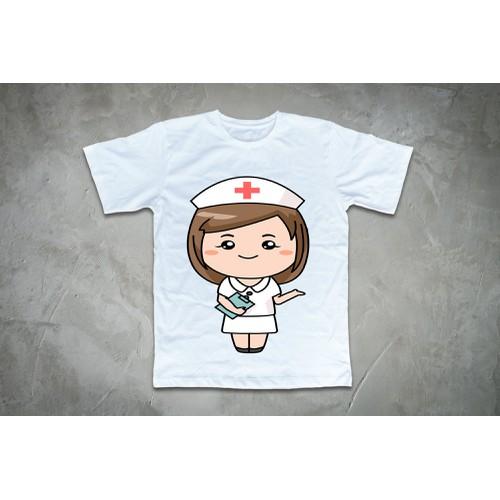Áo thun in hình cô bé y tá