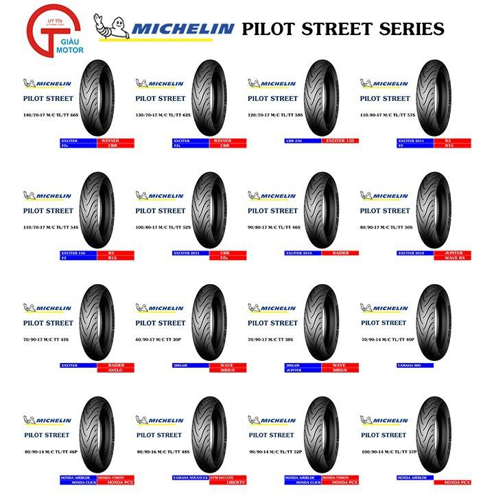Lốp MICHELIN 100.90-14 PILOT STREET MC TL 57P   Vỏ xe máy MICHELIN size 100.90-14 PILOT STREET MC TL 57P  Việt Nam, giá rẻ, uy tín 2