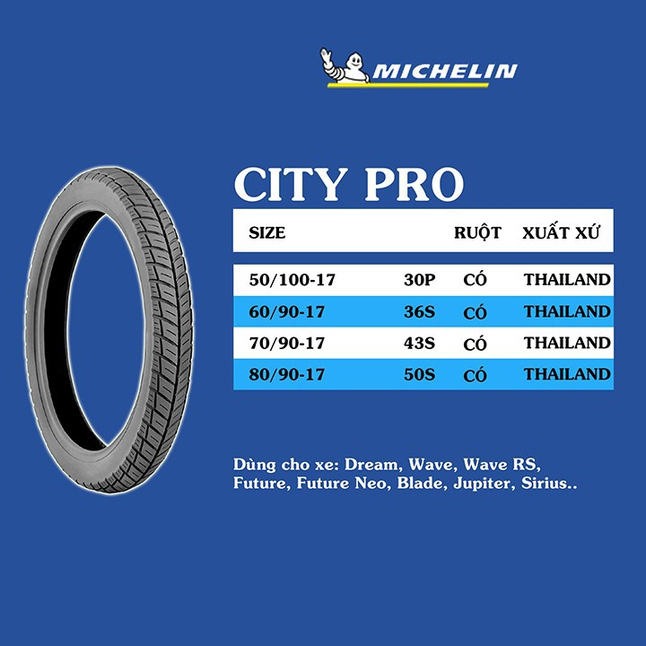 Lốp MICHELIN 60.90-17 CITY PRO MC TT 36S Vỏ xe máy MICHELIN size 60.90-17 CITY PRO MC TT 36S Việt Nam, giá rẻ, uy tín 2
