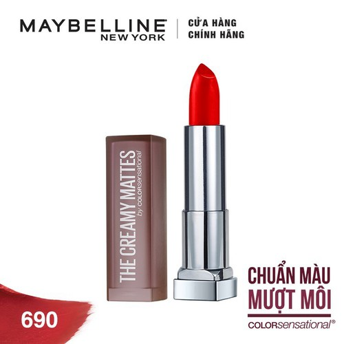 Son Lì Lâu Trôi Maybelline Creamy Mattes 3.9g  -  690 Siren In Scarlet - Tặng kèm 1 cây son L