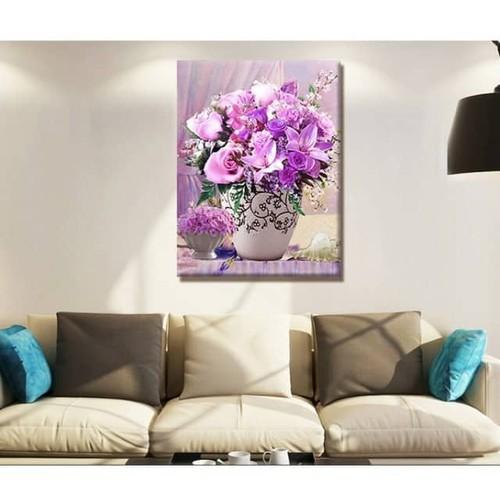 tranh thêu bình hoa tím đẹp 67-54cm