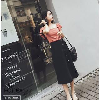 Chân váy chữ A phối nút - KH48 thumbnail