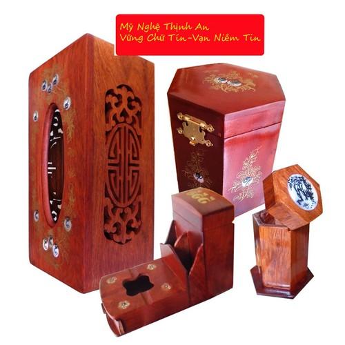 Bộ 4 món tiện ích bằng gỗ hương đỏ ,Hộp Trà nhỏ,gạt tàn,hộp tăm,hộp giấy COM4M01
