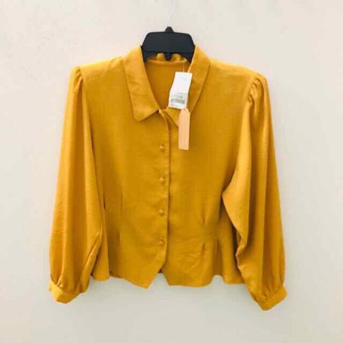 áo kiểu sơ mi nữ công sở màu vàng nghệ