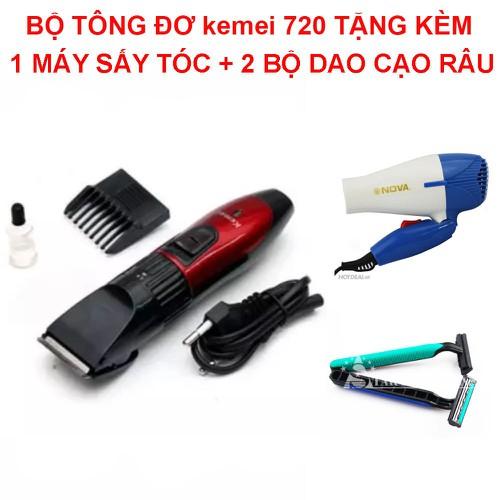 Tông đơ cắt tóc TẶNG 1 máy sấy tóc + 2 bộ dao cạo râu