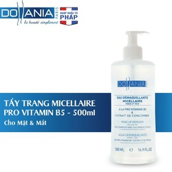 Nước tẩy trang Dollania Micellaire vitamin B5 cho mặt và mắt 500ml tặng kèm xịt khoáng Dollania 150ml.