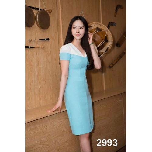 Đầm body xanh phối trắng